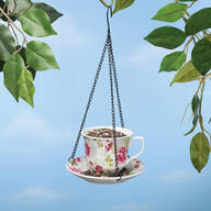 Ceramic Teacup and Saucer Bird Feeder