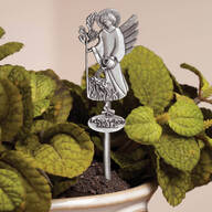 Pewter Flower Pot Angel Stake