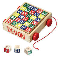 Wooden Alphabet Blocks With Personalized Cart