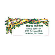 Holly And Ribbon Return Address Labels - Set of 200