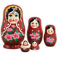 Traditional Russian Nesting Dolls - Set Of 5
