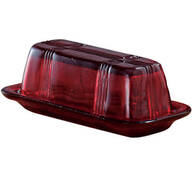 Red Depression Glass Butter Dish