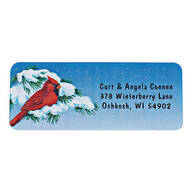 Snowy Cardinal Labels Roll - 200