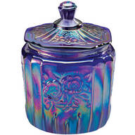 Blue Carnival Depression Style Glass Biscuit Jar