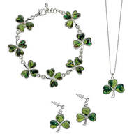 Paua Shell Shamrock Jewelry Set