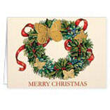 Butterfly Wreath Embossed Christmas Card - Set of 20