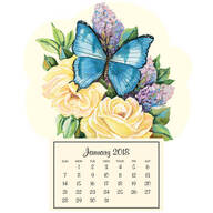 Lilac Butterfly Mini Magnetic Calendar