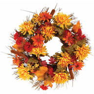"18"" Fall Mum Wreath by OakRidge™ Outdoor"