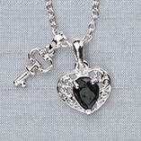 Sapphire Heart and Key Pendant