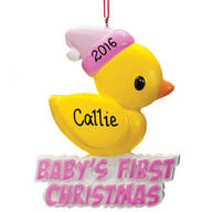 Personalized Rubber Ducky Baby's 1st Christmas Ornament
