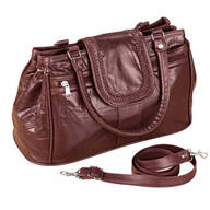 Burgundy Patch Leather Triple Top Zip Handbag
