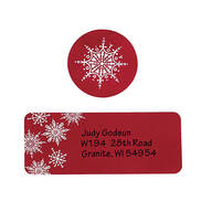 Large Print Red Snowflake Label and Seal - Sets of 250