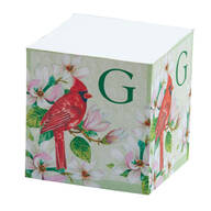 Personalized Self Stick Note Cube - Initial With Cardinal Design
