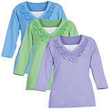 Pastel 3/4 Sleeve Floral V-Neck Shirt