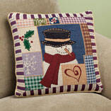 Holiday Needlepoint Snowman Pillow Cover