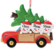 Personalized Woody Wagon Family Ornament