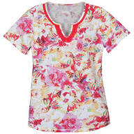 Floral V-Neck T-Shirt With Embroidery