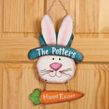 Personalized Metal Easter Bunny Door Hanger by Maple Lane Creations™