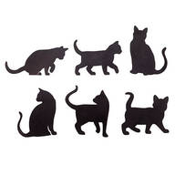 Cat Silhouette Fridge Magnets - Set of 6