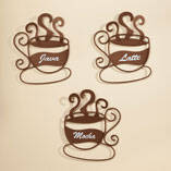 Metal Coffee Cup Wall Art, Set of 3