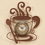 Metal Coffee Cup Clock