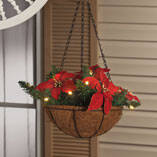 "10"" Lighted Poinsettia Hanging Basket"