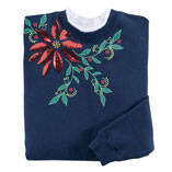 Embellished Poinsettia Sweatshirt