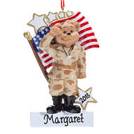 Personalized Army Bear Ornament