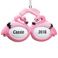 Personalized Flamingo Sunglasses Ornament