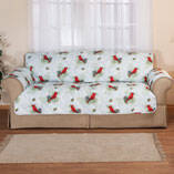 Microfiber Winter Cardinal Sofa Cover