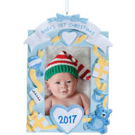 Personalized Baby's First Christmas Frame Ornament