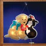Cat & Dog Valentine Shimmer Light by Northwoods Illuminations™