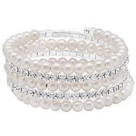 Crystal Faux Pearl Wrap Bracelet