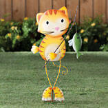 Metal Fishing Cat Yard Stake by Maple Lane Creations™