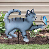 Kitten with Butterfly Lawn Stake by Maple Lane Creations™