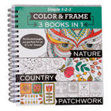 Adult 3-in-1 Nature, Country, Patchwork Coloring Book
