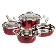 Red Metallic Stainless Steel 6-Pc. Cookware Set by Home-Style Kitchen™
