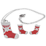 Stocking Stainless Steel Earrings and Pendant Necklace Set
