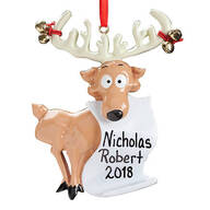 Personalized Reindeer with Santa's List Ornament
