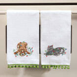 Christmas Pet in Lights Waffle Towel