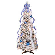 4-Foot Fully Decorated Flocked Pull-Up Tree