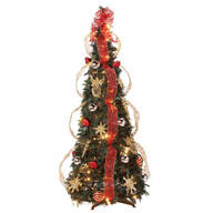 4-Foot Fully Decorated Red & Gold Pull-Up Tree