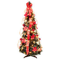 4 ft Pull Up Fully Decorated Prelit Poinsettia Tree