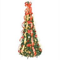 6 ft Fully Decorated Prelit Poinsettia Tree