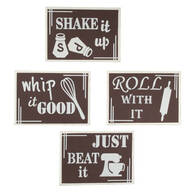 Kitchen Metal Wall Art, Set of 4