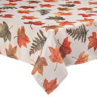 Metallic Leaves Fabric Tablecloth