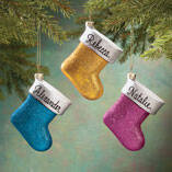 Personalized Birthstone Glitter Stocking Ornament