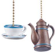 Coffee Pot & Cup Fan & Light Pulls, Set of 2