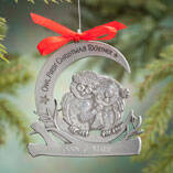 """Personalized """"Owl First Christmas Together"""" Pewter Ornament"""