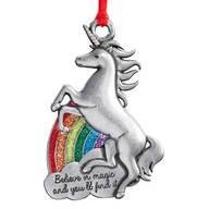 "Pewter ""Believe in Magic"" Unicorn Ornament"